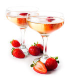 Hampagne with strawberries on a white background Stock Photography