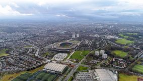 Hampden Park Scottish National Football Stadium in Glasgow Aerial View. Glasgow, UK - DECEMBER 24 : Hampden Park Stadium on December 24, 2017. Flying by Aerial Stock Photography
