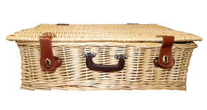 Hamper di picnic della canna Fotografia Stock