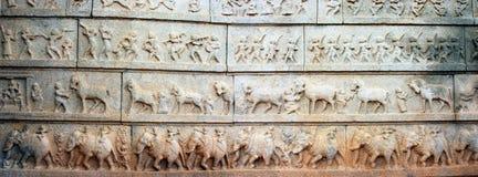 hampi寺庙墙壁 图库摄影
