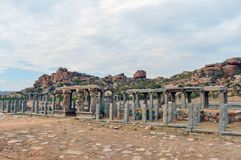 Ancient ruins in India Hampi royalty free stock photography