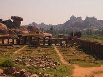 The Hampi temple complex, a UNESCO World Heritage Site in Karnataka, India