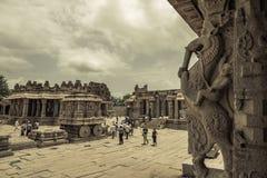 Hampi ancient hindu temple. Monochrome image of the Hampi ruins Stock Photos