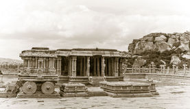 Hampi ancient hindu temple. Monochrome image of the Hampi ruins stock image