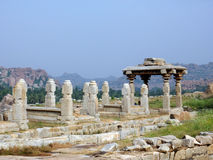 Hampi ancient ruins. Ancient ruins in Hampi - India royalty free stock photos