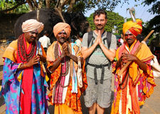 HAMPI, INDIA - APRIL 2013: Local men in traditional outfit Royalty Free Stock Image
