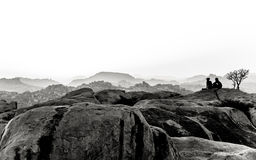 Hampi, India. In black and white. Royalty Free Stock Images
