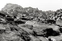 Hampi, India. In black and white. Royalty Free Stock Photo