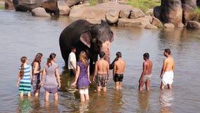 HAMPI INDIA, KWIECIEŃ, - 2013: Ludzie i słonia kąpanie w rzece zbiory wideo