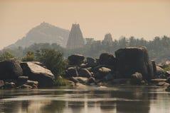 Hampi, Karnataka, India. Indicatori luminosi di tramonto Fotografie Stock Libere da Diritti
