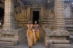 HAMPI, KARNATAKA, INDIA, January 2005, Priests at Virupaksha temple. HAMPI, KARNATAKA, INDIA January 2005 Priests at Virupaksha temple royalty free stock photos