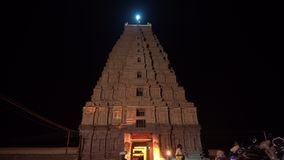 The main temple complex in Hampi at night. stock footage