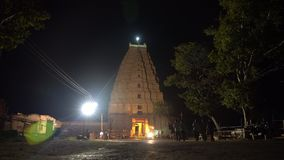 The main temple complex in Hampi at night. stock video