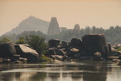 Hampi, Karnataka, India. Sunset Lights Royalty Free Stock Photos