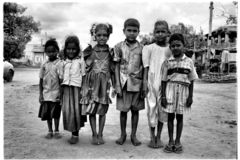 Hampi, Kartanaka, India, circa June 2002: Young children posing stock image