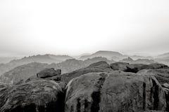 Hampi, la India En blanco y negro fotografía de archivo