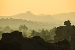 Rocky and misty early morning Landscape Royalty Free Stock Photo