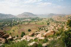 Hampi landscape from top of a hill Stock Image