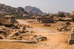 Hampi ruins. City of Hampi with the various ruins from the Hindu Vijayanagara empire which existed in the 14th century. Hampi is a UNESCO World Heritage site for stock photos