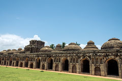 Hampi ruins. Elephants stable in hampi near queens palace royalty free stock photography