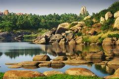 Hampi's river stock image