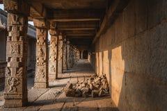 Hampi temple india karnakata view of ruins with sun royalty free stock image