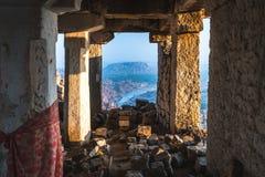 Hampi view from matanga hill at sunrise over the achyutaraya temple india karnakata from a stone. Ach stock photo