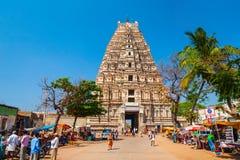 Hampi Vijayanagara Empire monuments, India. HAMPI, INDIA - FEBRUARY 16, 2012: Virupaksha Temple at Hampi, was the centre of the Hindu Vijayanagara Empire in stock image