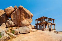 Hampi Vijayanagara Empire monuments, India. Hemakuta Hill Temple Complex at Hampi was the centre of the Hindu Vijayanagara Empire in Karnataka state in India stock image