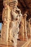 Hampi Vijayanagara Empire monuments, India. Relief carving at the Hampi temple, the centre of the Hindu Vijayanagara Empire in Karnataka state in India stock photo