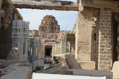 Hampi Vittala Temple deformed stone temple and mantap structure ruins Royalty Free Stock Photo