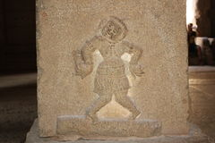 Hampi Vittala Temple Pillar Carving of Clown or Jester Royalty Free Stock Photography