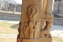 Hampi Vittala Temple pillar lord krishna stealing gopikas clothes Royalty Free Stock Photography