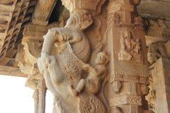 Hampi Vittala Temple pillar Man riding a Gaja elephant Yali mythical creature Stock Image