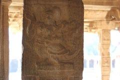 Hampi Vittala Temple Stone Pillar Carving of a strange mythical creature half human half bird Stock Photo