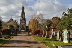 Gothic chapel graves Hampstead Cemetery London Royalty Free Stock Images