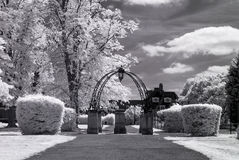 Hampstead Garden Suburb, London UK - Infrared black and white landscape Royalty Free Stock Images