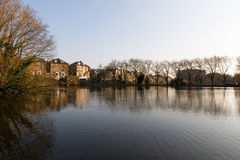 Hampstead No 1 Pond. In Hampstead Heath Park in London - early spring stock photos