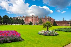Hampton Court Gardens in spring, London, United Kingdom. Hampton Court Palace and gardens in spring, London, United Kingdom Royalty Free Stock Photo
