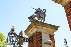 Symbols of Great Britain - Unicorn and Leo. HAMPTON COURT, GREAT BRITAIN - MAY 18, 2014: These are the symbols of Great Britain - the Unicorn and the Lion - on Stock Photo