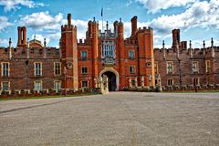 Hampton Court Palace England. Front view of Hampton Court Palace England Stock Images