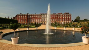 Hampton Court Palace and Fountain on a Sunny Day stock video footage