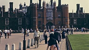 Hampton Court Palace. LONDON, UNITED KINGDOM - CIRCA 1979: Unicorn Gate of Hampton Court Palace, a royal palace in town of East Molesey, Richmond upon Thames stock video