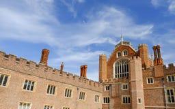 Hampton court palace, Richmond, UK. Main building of Hampton court palace with blue sky, Richmond, United Kingdom royalty free stock image