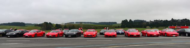 Row of Ferrari sports car on display at Ferrari Challenge Asia Pacific Series race on April 15, 2018 in Hampton Downs Stock Image