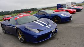 Row of Ferrari sports car on display at Ferrari Challenge Asia Pacific Series race on April 15, 2018 in Hampton Downs Royalty Free Stock Photography