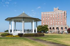 Former Chamberlin Hotel and Gazebo on Fort Monroe royalty free stock photos