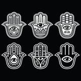 Hamsa手,法蒂玛-护身符,保护的标志的手免受恶魔眼睛 库存照片