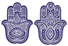 Hamsa вектора индийской нарисованное рукой с орнаментами иллюстрация вектора