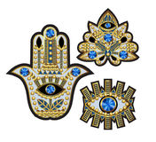 Hamsa, all-seeing eye and lotus patches, embroidered with beads, sequins and jewelry. Vector illustration. Royalty Free Stock Photos